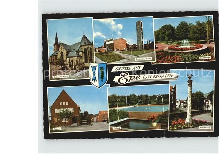 AK / Ansichtskarte Epe Westfalen St Agatha Kirche St Antonius Kirche Park Martersaeule Freibad Postamt Kat. Gronau (Westf.)