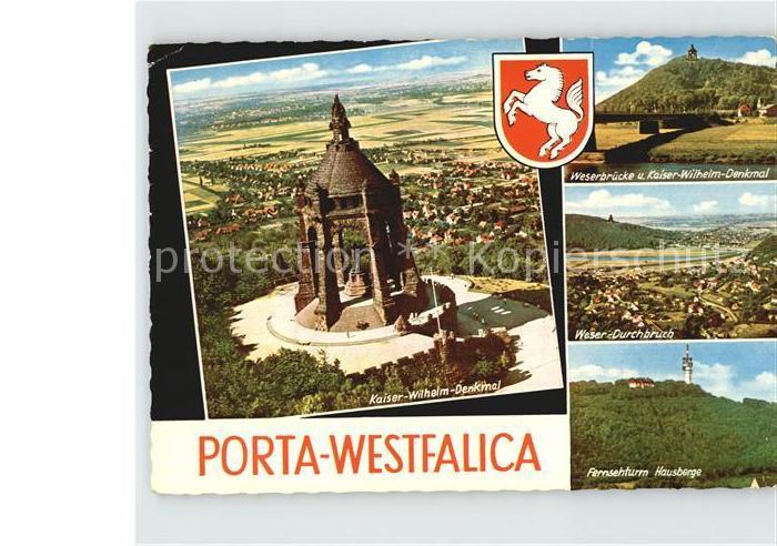 AK / Ansichtskarte Porta Westfalica Kaiser Wilhelm Denkmal Weserbruecke Weserdurchbruch Fernsehturm Hausberge Kat. Porta Westfalica