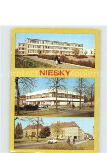 AK / Ansichtskarte Niesky Herbert Balzer Oberschule Betriebsgaststaette des MLK HO Gaststaette Pizza Zinzendorfplatz Kat. Niesky
