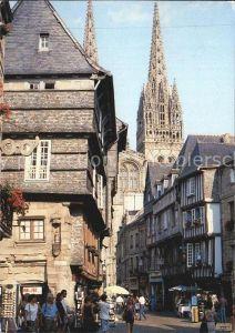 AK / Ansichtskarte Quimper La rue Kereon et la Cathedrale Kat. Quimper