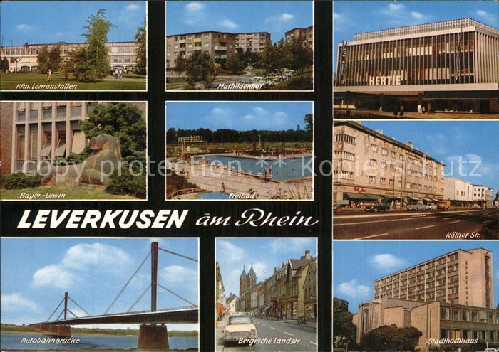 AK / Ansichtskarte Leverkusen Rheinparti Hertie Bayer Loewin Bergische Landstrasse Kat. Leverkusen