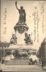 AK / Ansichtskarte Paris Monument de la Republique Statue Kat. Paris