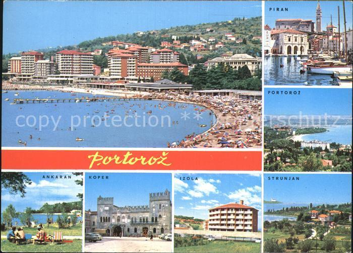 AK / Ansichtskarte Portoroz Panorama Strand Ferienorte Piran Strunjan Izola Koper Ankaran Kat. Slowenien