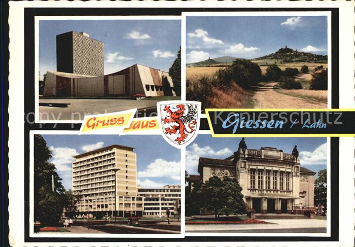 AK / Ansichtskarte Giessen Lahn Universitaetsbibliothek Behoerdenhochhaus Stadttheater Kat. Giessen