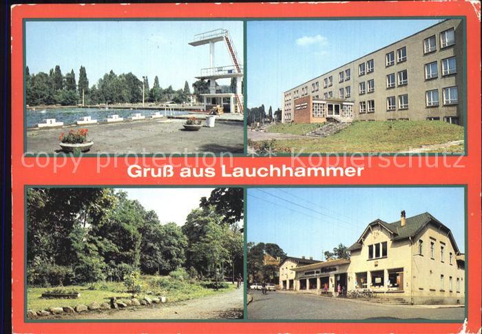 AK / Ansichtskarte Lauchhammer Schwimmstadion Schule Naherholungszentrum Volkspark Kaufhalle des Friedens Kat. Lauchhammer