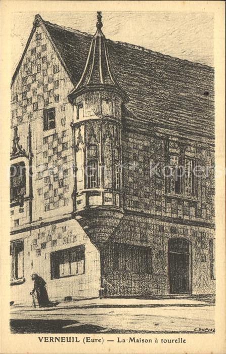AK / Ansichtskarte Verneuil sur Avre Maison a tourelle Dessin Kuenstlerkarte Kat. Verneuil sur Avre 0