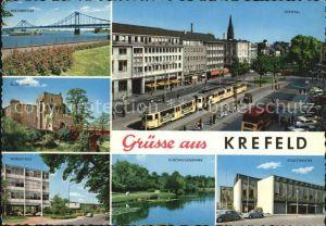 AK / Ansichtskarte Krefeld Rheinbruecke Ostwall Burg Linn Webeschule Schoenwasserpark Stadttheater Kat. Krefeld