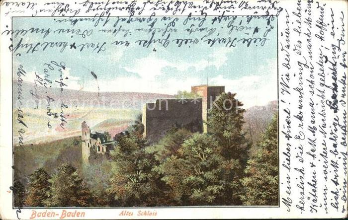 AK / Ansichtskarte Baden Baden Altes Schloss Ruine Litho Kat. Baden Baden