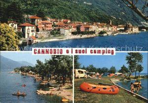 AK / Ansichtskarte Cannobio Lago Maggiore Haeuserpartie am Wasser Strand Campingplatz Kat. Italien