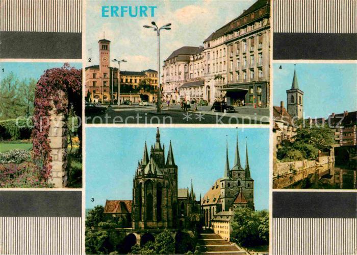 AK / Ansichtskarte Erfurt Stadtpark Bahnhofsplatz HO Hotel Erfurter Hof Dom Severi Kirche Kraemerbruecke Kat. Erfurt