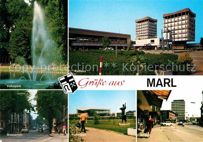 AK / Ansichtskarte Marl Westfalen Rathaus Hallenbad Bergstrasse Brassertstrasse Volkspark Kat. Marl