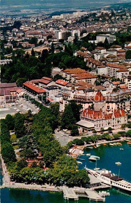 AK / Ansichtskarte Ouchy Vue aerienne sur le Port Kat. Lausanne