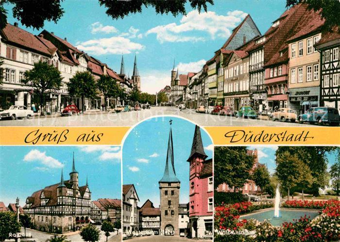 AK / Ansichtskarte Duderstadt Innenstadt Altstadt Fachwerkhaeuser Rathaus Westerturm Wall Anlagen Kat. Duderstadt
