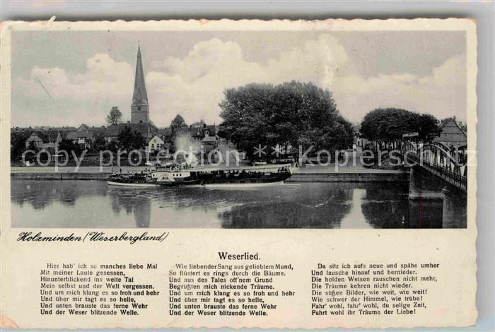 AK / Ansichtskarte Holzminden Weser Weserlied Dampfer Bruecke Kirche Kat. Holzminden