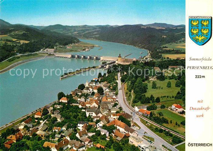 AK / Ansichtskarte Persenbeug Gottsdorf Fliegeraufnahme mit Donaukraftwerk Kat. Persenbeug Gottsdorf