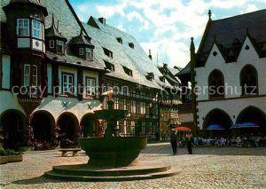 AK / Ansichtskarte Goslar Marktbrunnen Altstadt Fachwerkhaus Gaststaette Restaurant Kat. Goslar