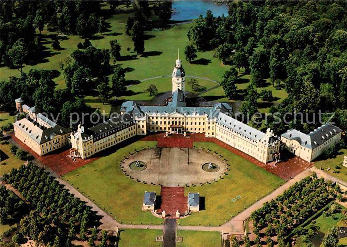 AK / Ansichtskarte Karlsruhe Baden Badisches Landesmuseum im Karlsruher Schloss Luftbild