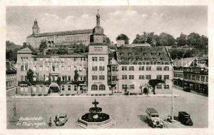 AK / Ansichtskarte Rudolstadt Rathaus Hotel zum Loewen Schloss Heidecksburg Schlosscafe Kat. Rudolstadt