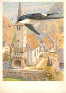 AK / Ansichtskarte Kuenstlerkarte Leo Paul Robert L Hirondelle de Fenetre  Kat. Kuenstlerkarte