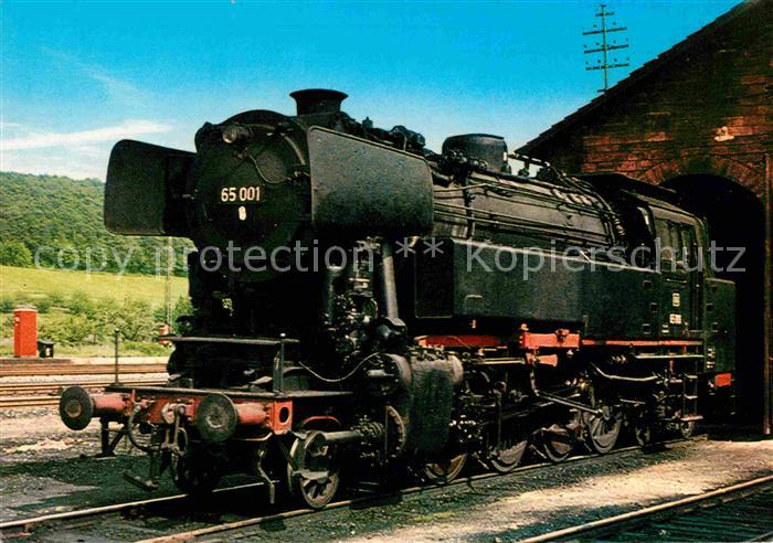 AK / Ansichtskarte Lokomotive Personenzug Tender Lokomotive 65 001 Schuppen Heubach Kat. Eisenbahn