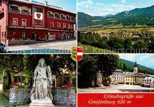 AK / Ansichtskarte Greifenburg Gasthof Hotel Rossmann Statue Ortspartie mit Kirche Drautal Kat. Greifenburg