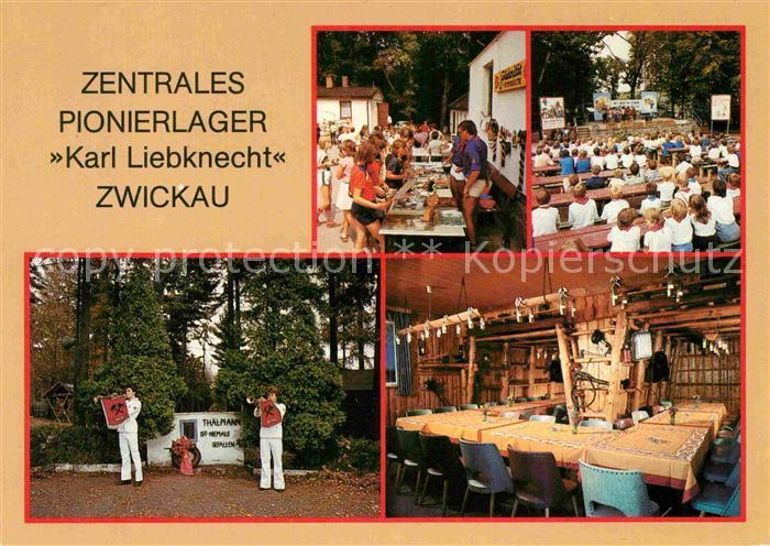 AK / Ansichtskarte Zwickau Sachsen Zentrales Pionierlager Karl Liebknecht Solibasar Freichlichtbuehne Thaelmannhain Traditionszimmer Kat. Zwickau