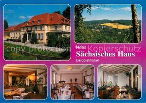 AK / Ansichtskarte Berggiesshuebel Hotel Saechsisches Haus Restaurant Landschaftspanorama Kat. Bad Gottleuba Berggiesshuebel