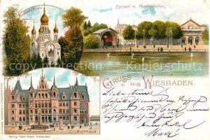 AK / Ansichtskarte Wiesbaden Kursaal mit Musikpavillon Rathaus Griechische Kapelle Kat. Wiesbaden