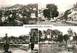 AK / Ansichtskarte Blankenburg Harz Panorama Mauerstrasse Barockgarten im ehem Lustschloss Staedt Freibad Kat. Blankenburg