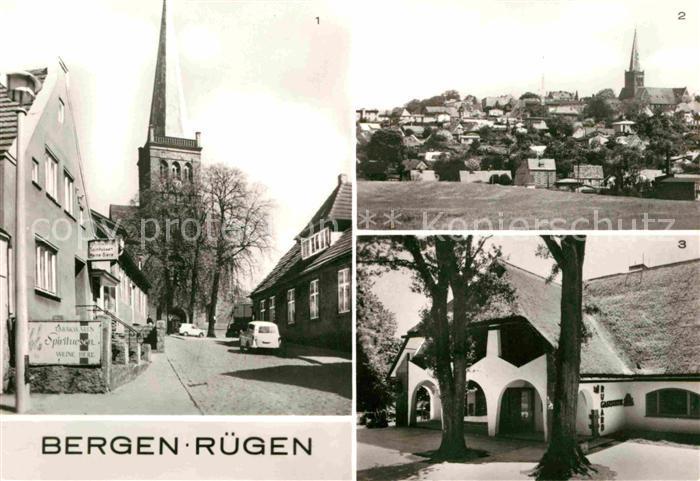 AK / Ansichtskarte Bergen Ruegen Kirche Teilansicht Rugard Gaststaette Kat. Bergen