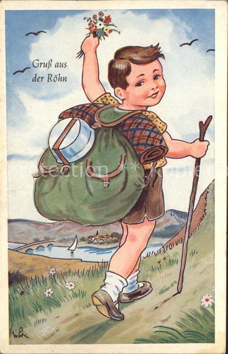 AK / Ansichtskarte Rhoen Region Junge auf Wanderschaft Illustration