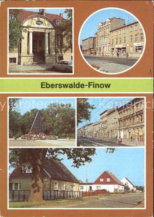 AK / Ansichtskarte Finow Eberswalde Forstakademie Denkmal Strassenpartien Clara Zetkin Siedlung