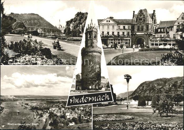 AK / Ansichtskarte Andernach Rhein Rheinanlagen Rheintor Stadtansicht Runder Turm Rheinfaehre