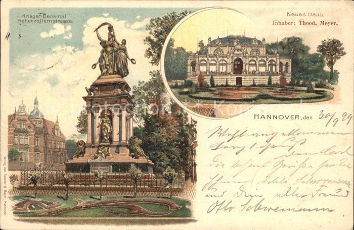 AK / Ansichtskarte Hannover Kriegerdenkmal Hohenzollernstrasse Neues Haus Reichspost Kat. Hannover