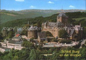 AK / Ansichtskarte Burg Wupper Schloss Wahrzeichen des Bergischen Landes Silhouette Remscheid Fliegeraufnahme Kat. Solingen