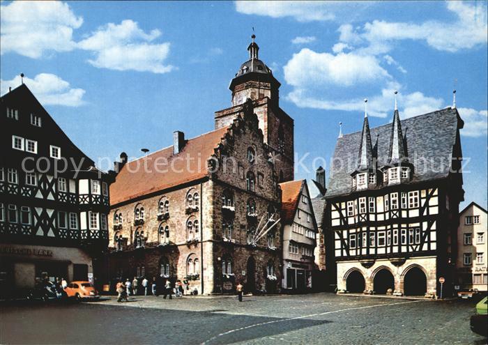 AK / Ansichtskarte Alsfeld Marktplatz Rathaus Fachwerkhaus Kat. Alsfeld