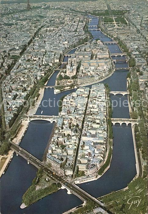AK / Ansichtskarte Paris Les ponts de la Seine Ile Saint Louis Ile de la Cite Cathedrale Notre Dame vue aerienne Kat. Paris