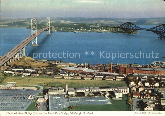 AK / Ansichtskarte Edinburgh Forth Road Bridge and Forth Rail Bridge aerial view Kat. Edinburgh