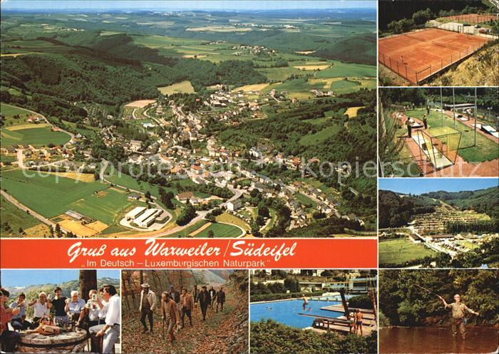 AK / Ansichtskarte Waxweiler Suedeifel Deutsch Luxemburgischer Naturpark Fliegeraufnahme Tennis Minigolf Angeln Wandern Schwimmbad Kat. Waxweiler