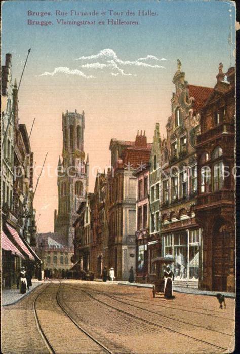 AK / Ansichtskarte Bruges Flandre Rue Flamande et Tour des Halles Kat.