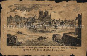 AK / Ansichtskarte Vieux Paris La Teste de l Isle du Palais Eglise Notre Dame Hotel Dieu en 1640 Dessin Kuenstlerkarte