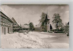 AK / Ansichtskarte Dietersweiler Dorfplatz mit Rathaus und Kirche Kat. Freudenstadt