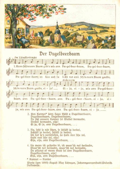 AK / Ansichtskarte Liederkarte Der Vugelbeerbaam  Kat. Musik