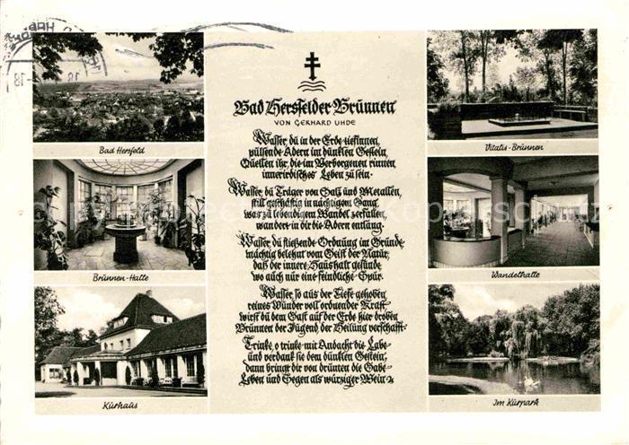 AK / Ansichtskarte Bad Hersfeld Brunnen Kurhaus Wandelhalle Kurpark Kat. Bad Hersfeld