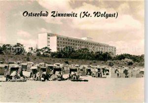 AK / Ansichtskarte Zinnowitz Ostseebad Strand Ferienheim Roter Oktober der IG Wismut