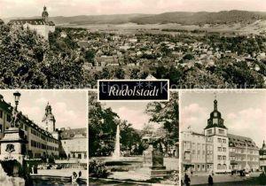 AK / Ansichtskarte Rudolstadt Panorama Blick vom Hain Schlosshof Platz OdF Denkmal Marktplatz Kat. Rudolstadt