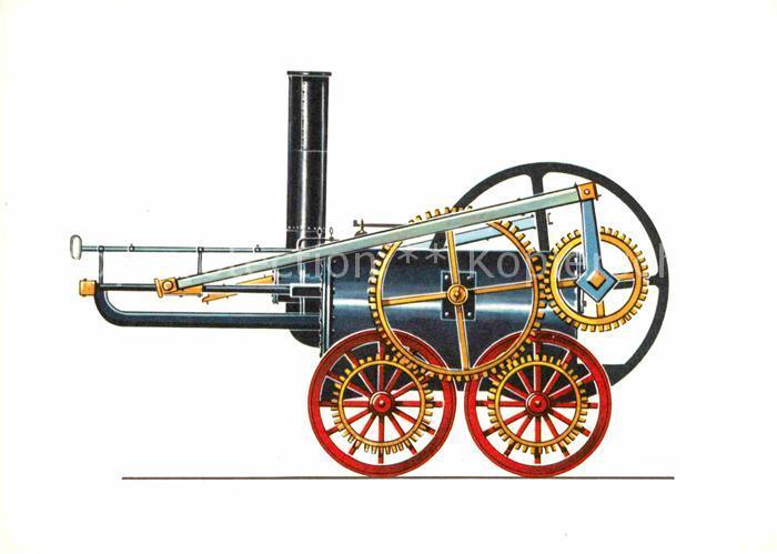 AK / Ansichtskarte Lokomotive Trevithiks Schwungrad Lokomotive 1803 Zeichnung Swoboda  Kat. Eisenbahn