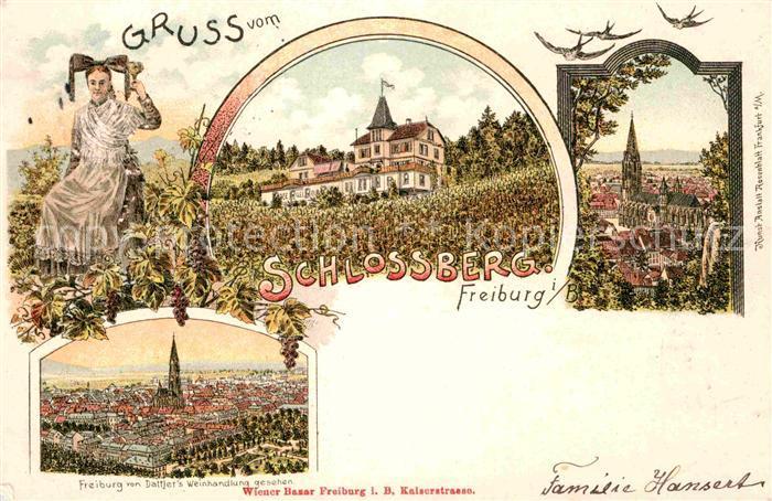 AK / Ansichtskarte Freiburg Breisgau Tracht Schlossberg Muenster Kat. Freiburg im Breisgau