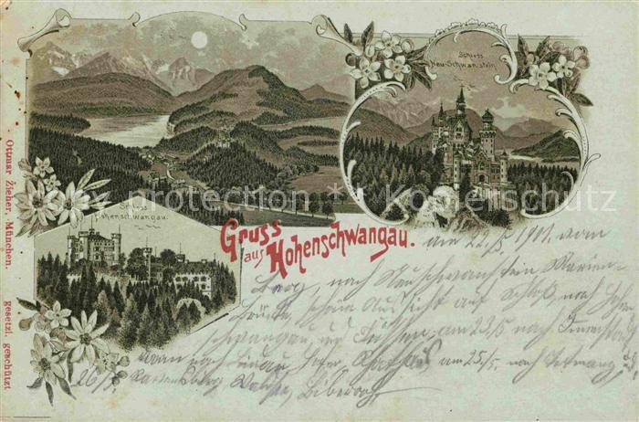 AK / Ansichtskarte Hohenschwangau Schloss Neuschwanstein und Hohenschwangau Kat. Schwangau