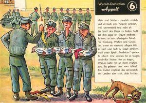 AK / Ansichtskarte Militaria Humor Wunsch Dienstplan Appell Soldaten Kleidung Socken  Kat. Humor